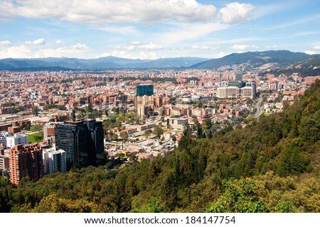 View of Bogota, as seen from the mountains in the north of the capital (Colombia) - stock photo