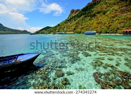View of Bohey Dulang Island with the clear water  in Tun Sakaran Marine Park, Semporna, Sabah Borneo, Malaysia - stock photo