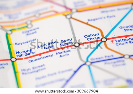View of Bond Street tube station on a London train map. - stock photo