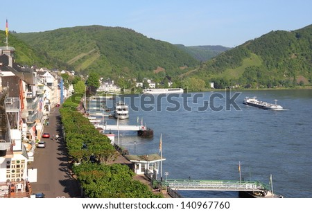 View of Boppard on the Rhine. Middle Rhine Valley - UNESCO World Heritage site. - stock photo