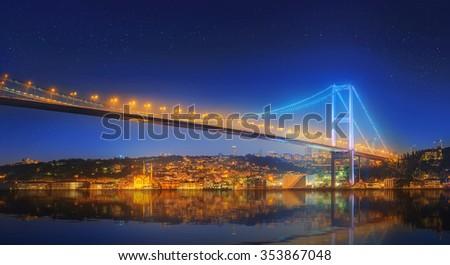 View of Bosphorus bridge at night Istanbul, Turkey - stock photo