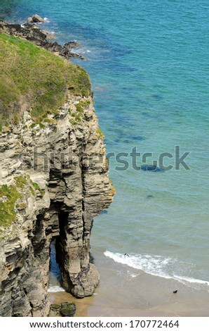 View of Bossiney Haven from coastal path near Tintagel in Cornwall England - stock photo