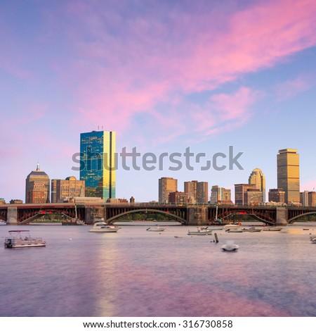 View of Boston Massachusetts Skyline at twilight in USA - stock photo