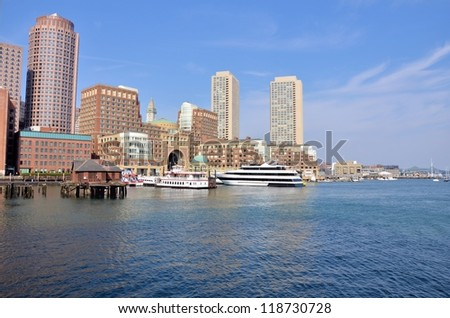 View of Boston Skyline and Waterfront - stock photo
