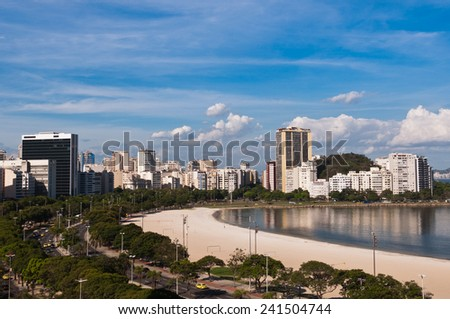 View of Botafogo Beach and Commercial and Residential Buildings of Rio de Janeiro, Brazil