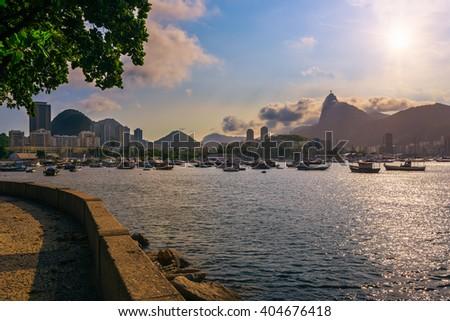 view of Botafogo, mountain Corcovado and Christ the Redeemer  in Rio de Janeiro. Brazil - stock photo