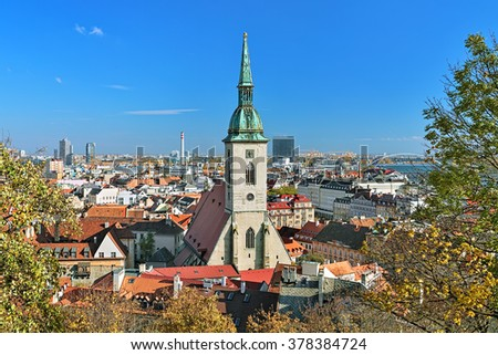 View of Bratislava with St. Martin's Cathedral, Slovakia - stock photo