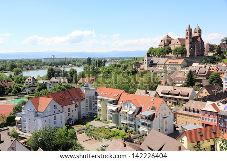 View of Breisach in Germany at the edge of the Rhine - stock photo