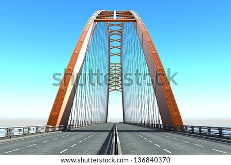 View of  Bridge from the sea - stock photo