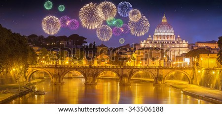 View of bridge of the Holy Angels, Ponte Sant'Angelo and Vatican view from Umberto Bridge after sunset, Rome, Italy