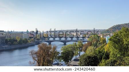 View of bridges on Vltava river, Prague, Czech Republic - stock photo
