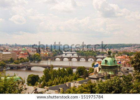 view of bridges over Vltava in Prague - stock photo