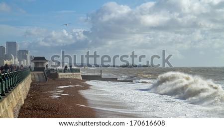View of Brighton piers looking east from Hove seafront - stock photo