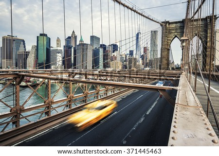 View of Brooklyn Bridge in New York City.