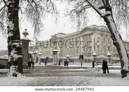 View of Buckingham Palace from Green Park, London - stock photo