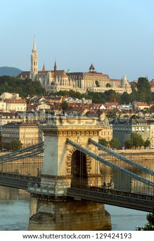 View of Buda and Chain bridge in early morning, Budapest