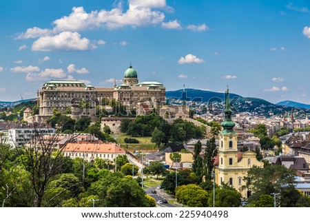 View of Buda side of Budapest with the Buda Castle, St. Matthias and Fishermen's Bastion - stock photo