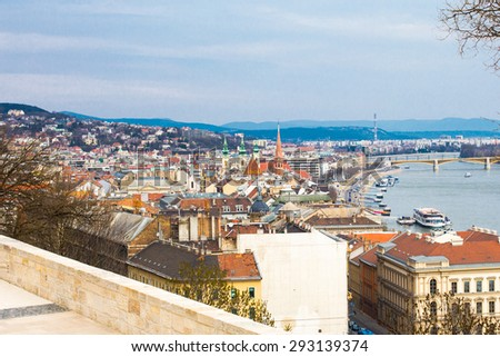 View of Buda, western part of Budapest panorama and river Danube, Hungary