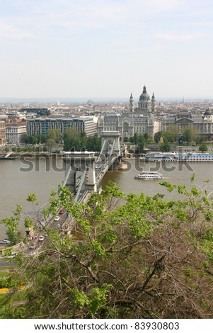 view of budapest and the chain bridge from the royal palace, budapest, hongria, europe