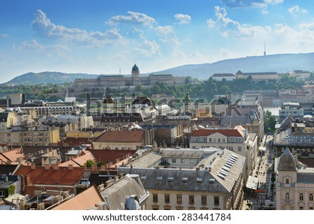 View of Budapest city and Royal Castle - stock photo