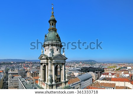 View of Budapest from the dome of St. Stephen's Basilica with the bell tower in the foreground, Hungary - stock photo