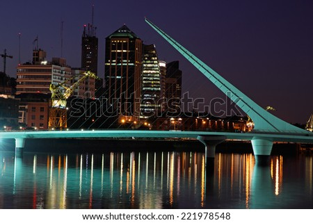 View of Buenos Aires by night, Argentina  - stock photo