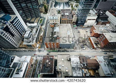 View of buildings along Adelaide Street and Simcoe Street, in downtown Toronto, Ontario.