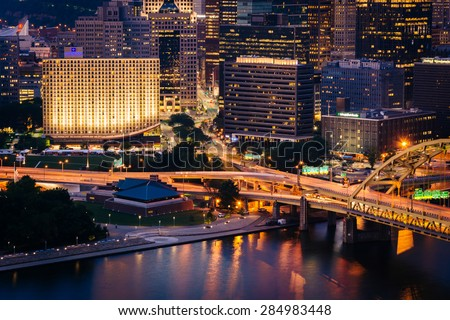 View of buildings in downtown Pittsburgh from the top of the Duquesne Incline in Mount Washington, Pittsburgh, Pennsylvania. - stock photo