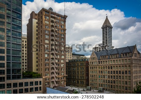 View of buildings in downtown Seattle, Washington. - stock photo
