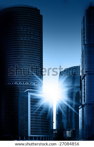 View of buildings modern business centre - stock photo