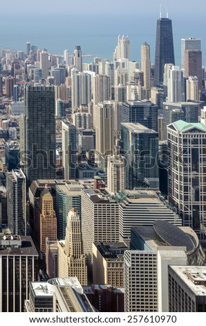 View of buildings on downtown Chicago - stock photo