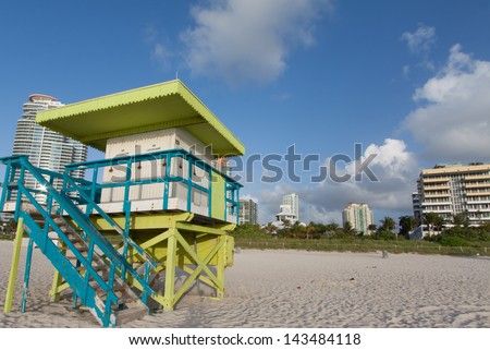 View of buildings on Ocean Drive from behind lifeguard station - stock photo