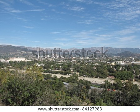 View of Burbank and the San Fernando Valley from Griffith Park - stock photo