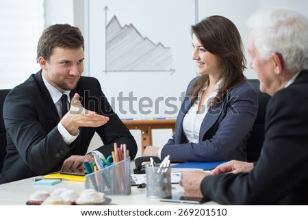 View of business conference in the office - stock photo
