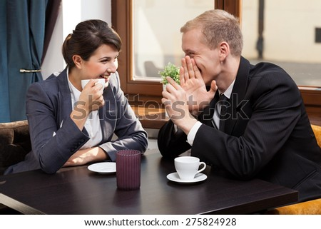 View of business friends during coffee time - stock photo