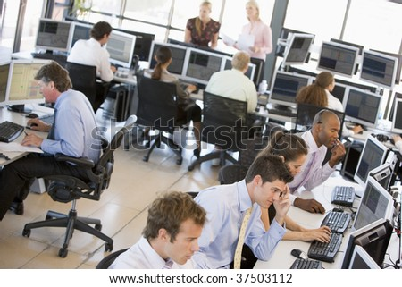 View Of Busy Stock Traders Office