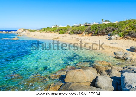 View of Cala Caterina beach and turquoise sea, Sardinia island, Italy