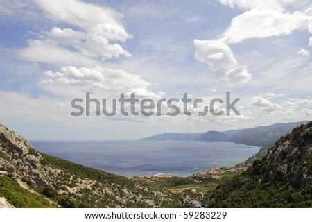 View of Cala Gonone bay in Sardinia island, Italy. - stock photo