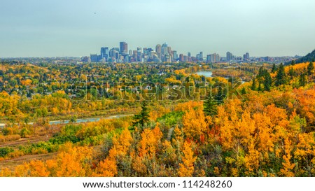 View of Calgary downtown from Edworthy park - stock photo