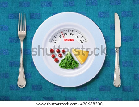 view of calorie tot in food that on white plate - stock photo