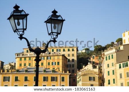 View of Camogli with lamppost