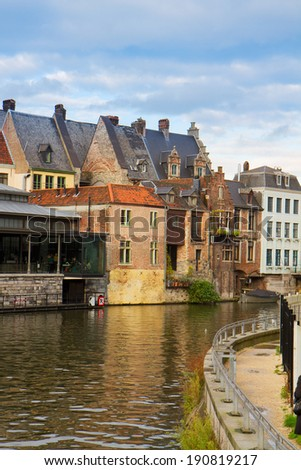 View of canal and old buildings in historical centre of  Ghent, Belgium