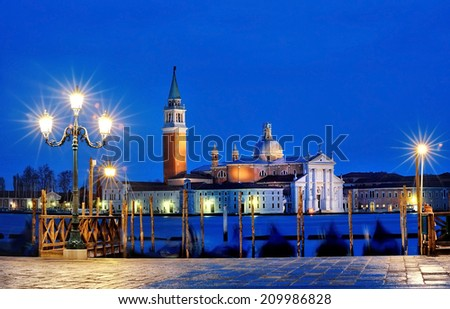 view of Canal Grande from Piazza San Marco by night, Venice, Italy - stock photo