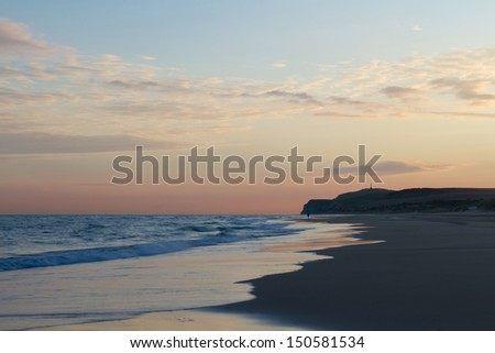View of Cap Blanc-Nez from the beach of Wissant at dusk. - stock photo
