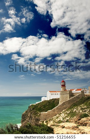 View of Cape St Vincen, the lighthouse at the westernmost tip of europe