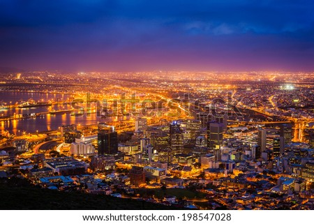 View of Cape Town at dawn, South Africa - stock photo
