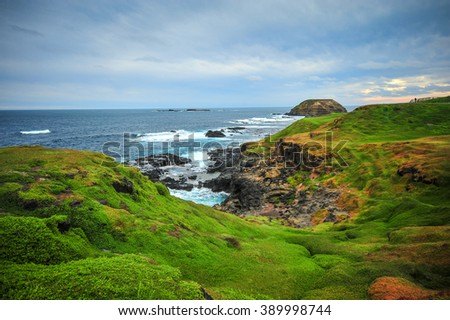 View of Cape Woolamai and the Pinnacles of Phillip Island, Melbourne, Australia.  - stock photo