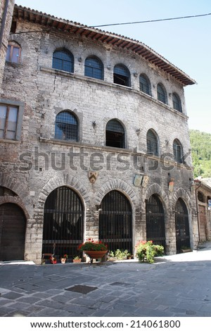 View of Capitano del Popolo Palace in Gubbio, Italy