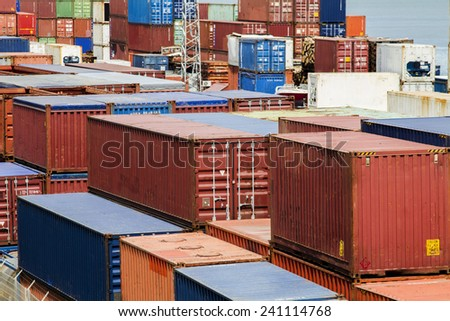 View of cargo container docks located in Lisbon, Portugal. - stock photo