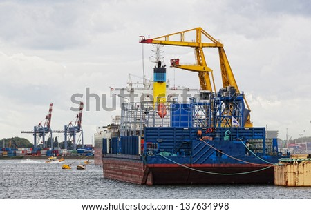 View of cargo port in Rotterdam, the biggest port in Europe - stock photo